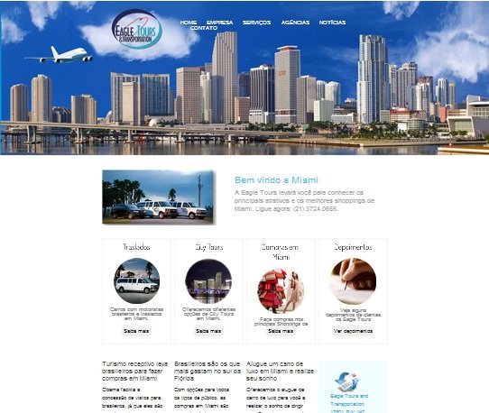 Site otimizado da Eagle Tours de Miami