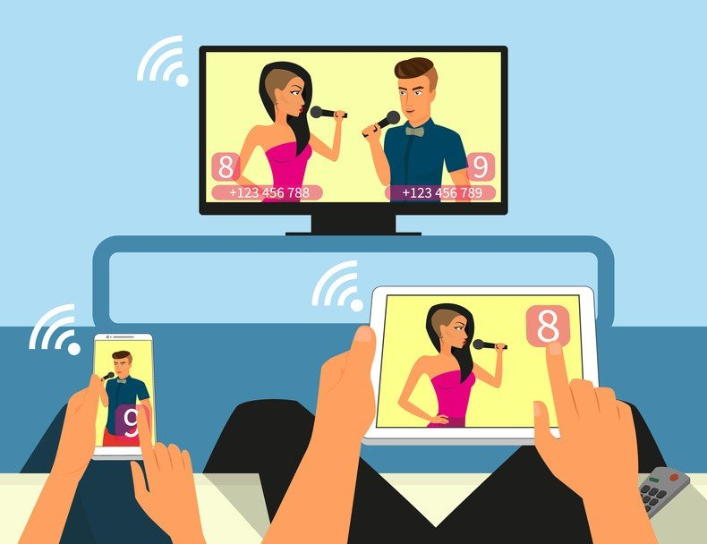 Multiscreen interaction. Man and woman are participating in TV singer show using smartphone and tablet pc. Contains EPS10 and high-resolution JPEG.